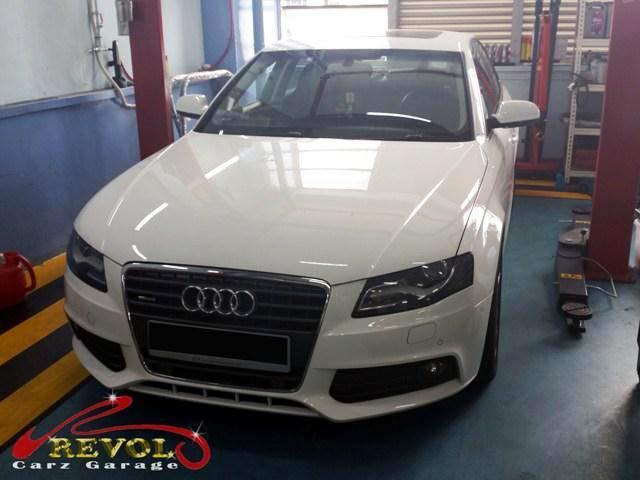 Mr. Li's Audi A4 arrives at Revol Carz Garage