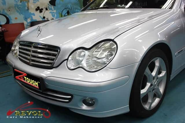 Spray painting with ceramic coating on Mercedes Benz C180 ML