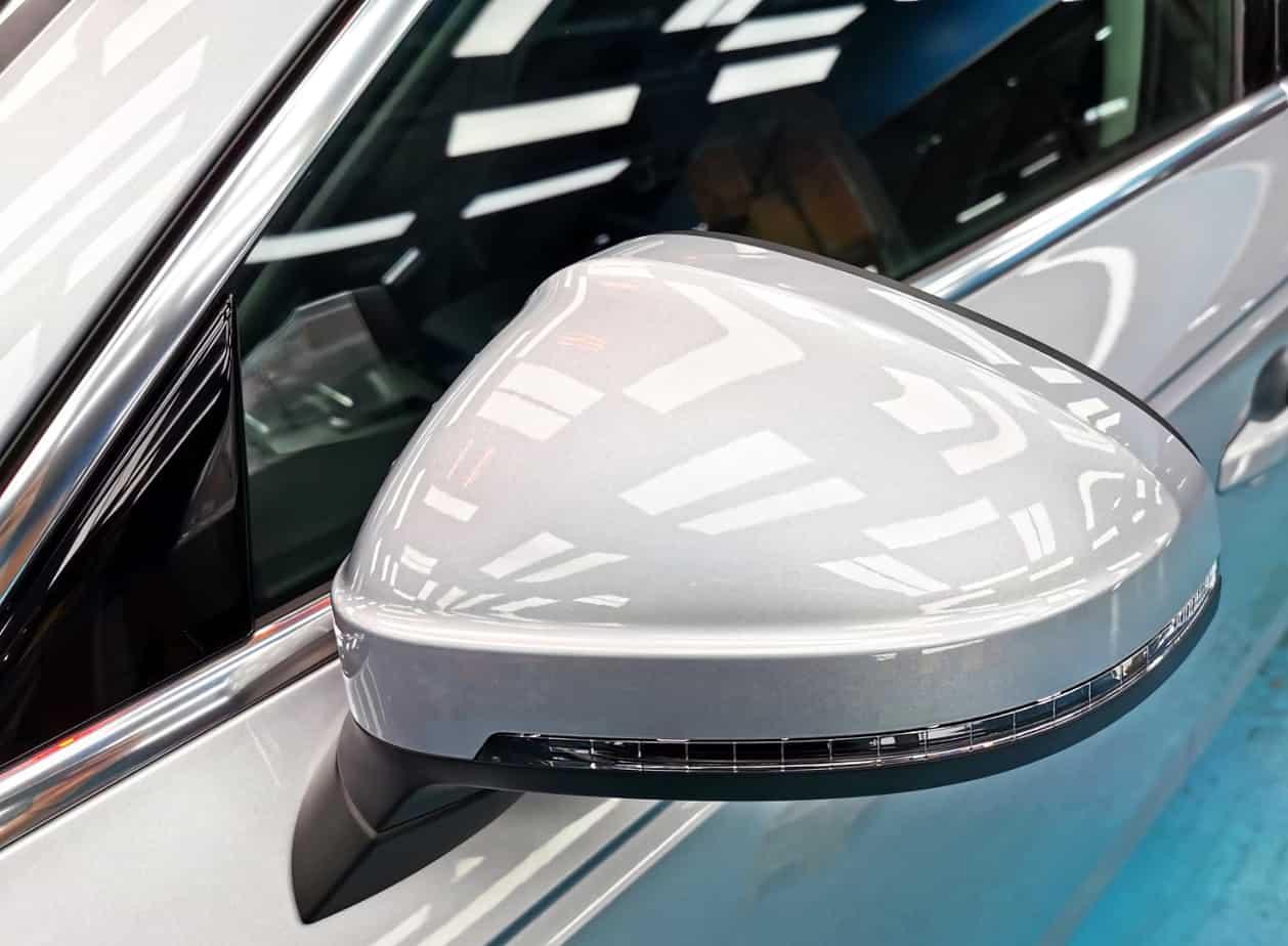 An elegant Audi A4  -s ide mirror