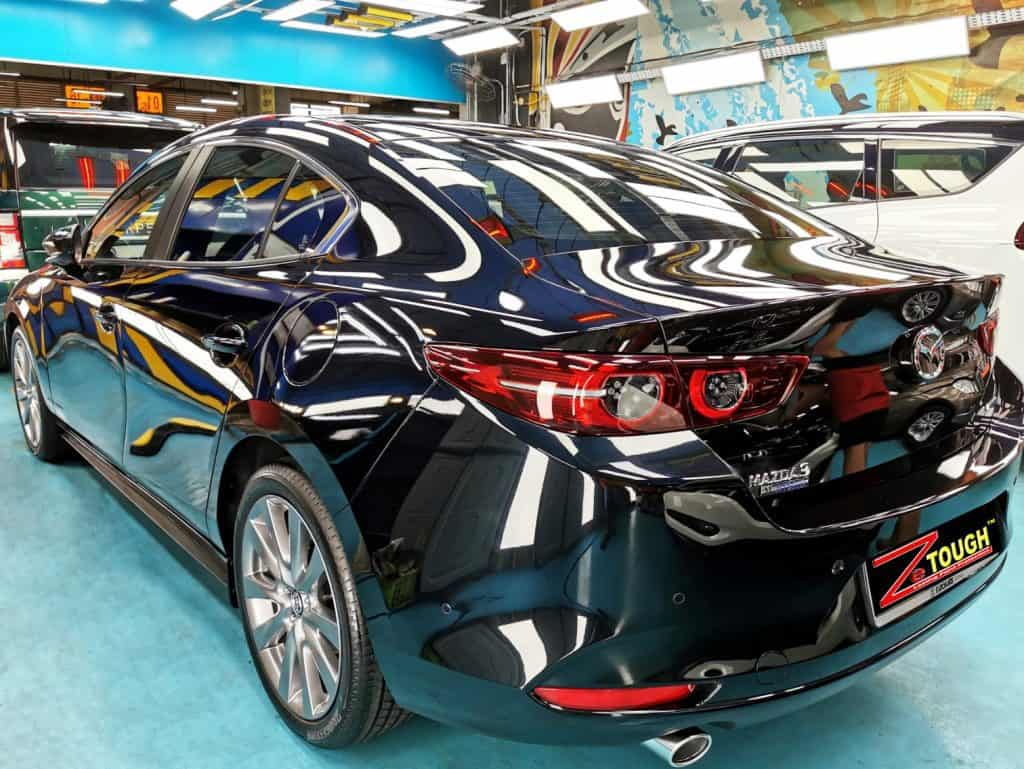 Rich and Glossy Titanium Paint Protection finish of Mazda 3