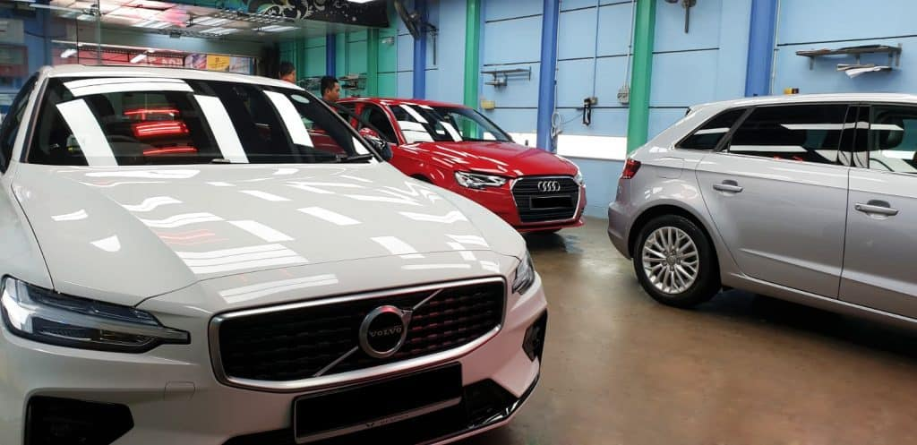 Our paint protection team busy pampering all these cars