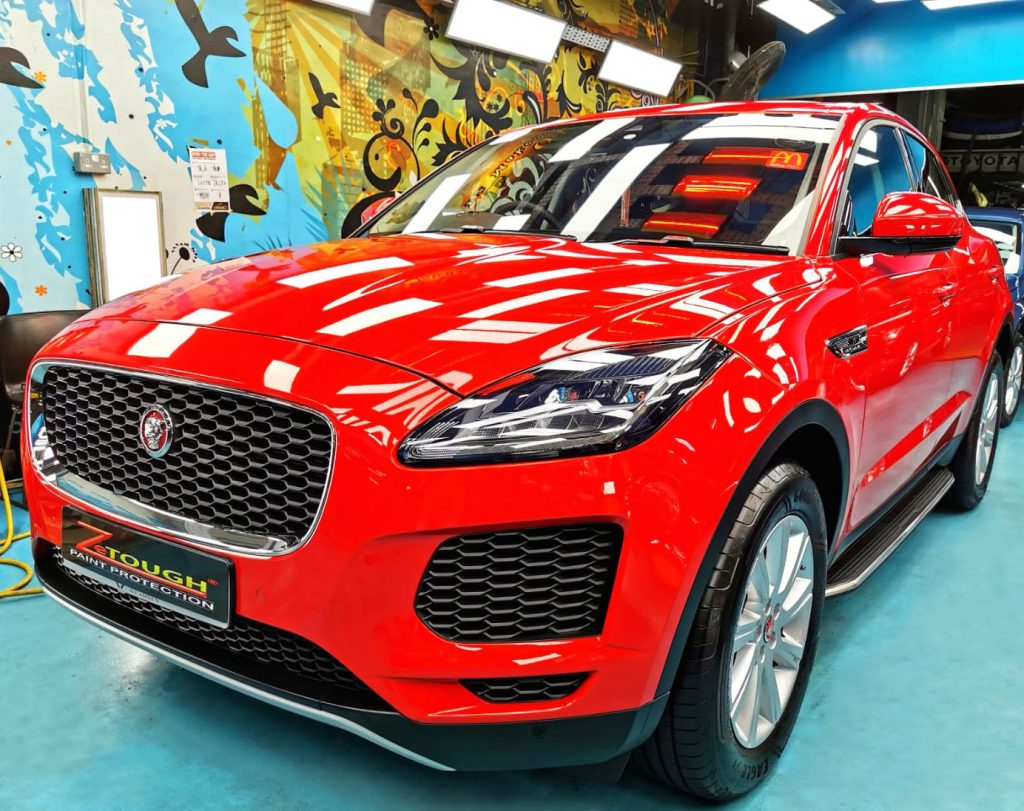 Red Jaguar E-Pace Finished a Treatment of Paint protection