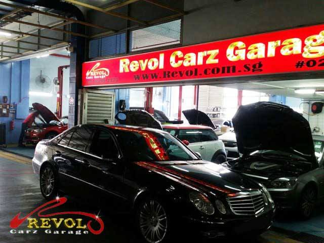 Mercedes in front of Revol Carz Garage